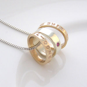 White And Yellow Gold Personalised Necklace - gold