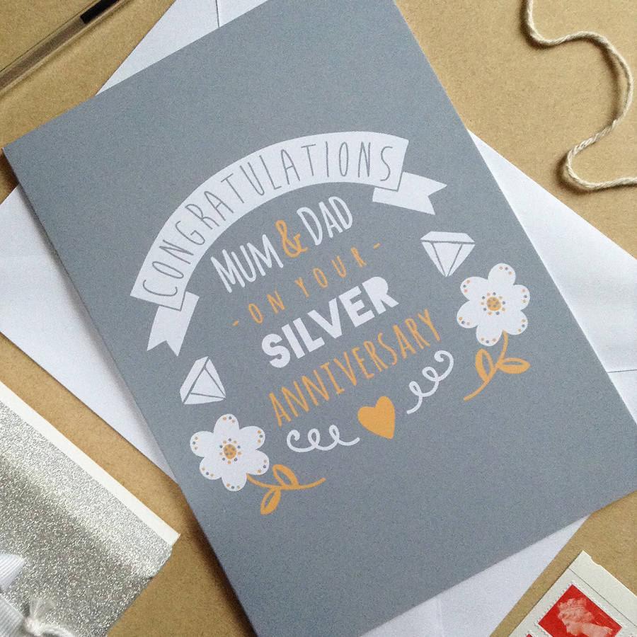 personalised silver wedding anniversary card by ello ...