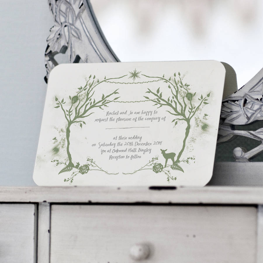 woodland wedding invitation and details / rsvp card by julia ...