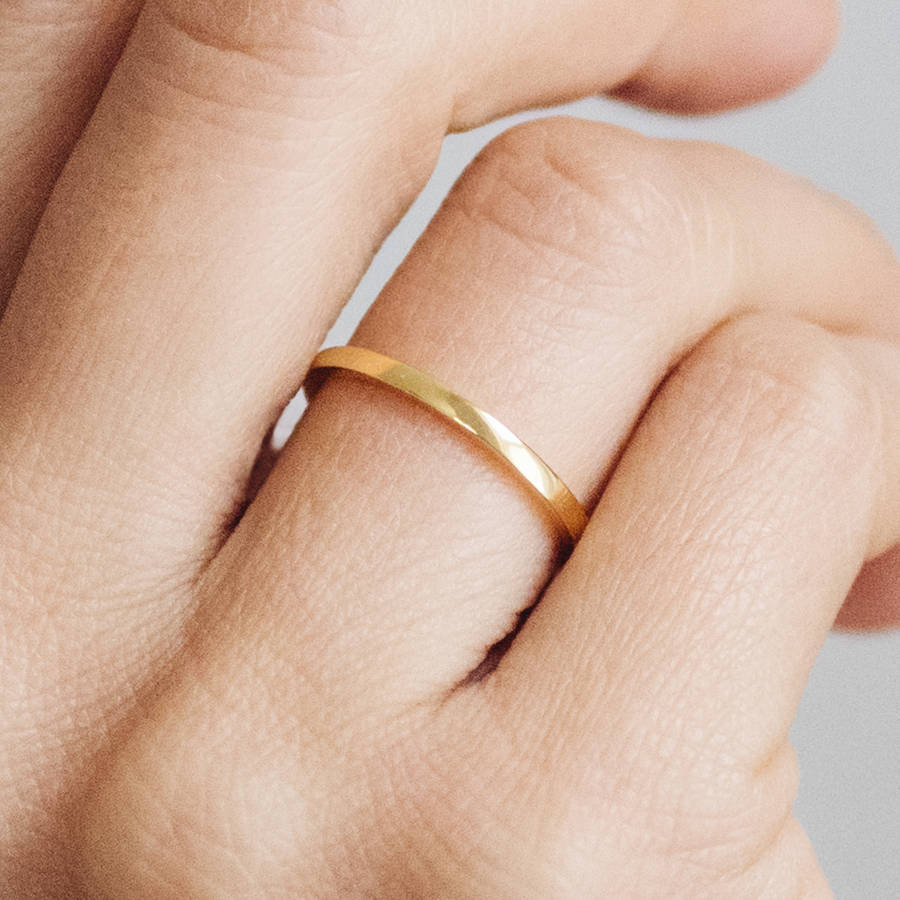 bands band skinny wedding texture of gold inspirational thin hammered