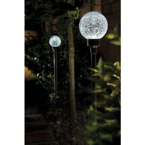 Set Of Two White Border Ball Solar Garden Lights - lights & lanterns