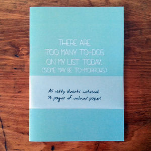 'Too Many To Dos' Notebook - shop by personality
