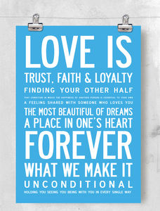 'Love Is' Inspirational Poster Or Canvas - canvas prints & art