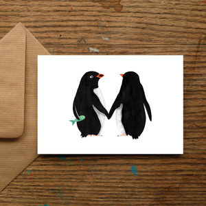 Penguin Love Card - wedding, engagement & anniversary cards