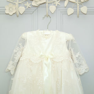 Charlotte Long Sleeved Lace Christening Gown - christening wear