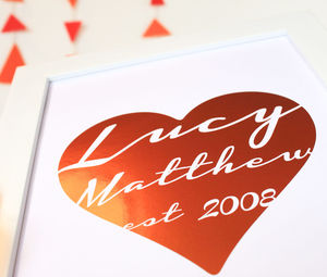 Personalised Metallic Heart Name Print - pictures & prints for children