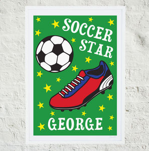 Personalised 'Soccer Star' Print - nursery pictures & prints