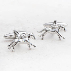 Personalised Finishing Post Silver Horse Cufflinks