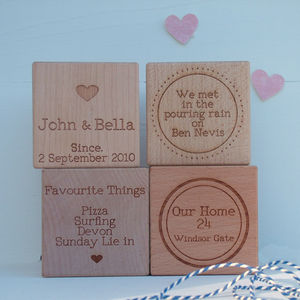 'Our Story' Engraved Oak Or Maple Wood Block - 5th anniversary: wood