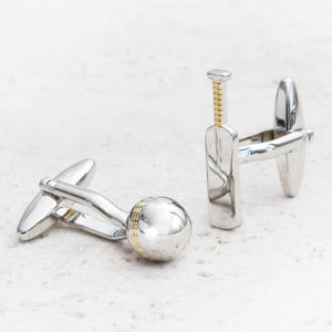 Personalised Cricket Bat And Ball Silver Cufflinks - men's jewellery