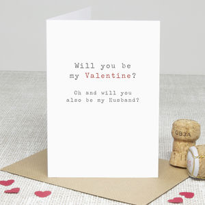 'Be My Husband' Valentine's Day Card - wedding, engagement & anniversary cards
