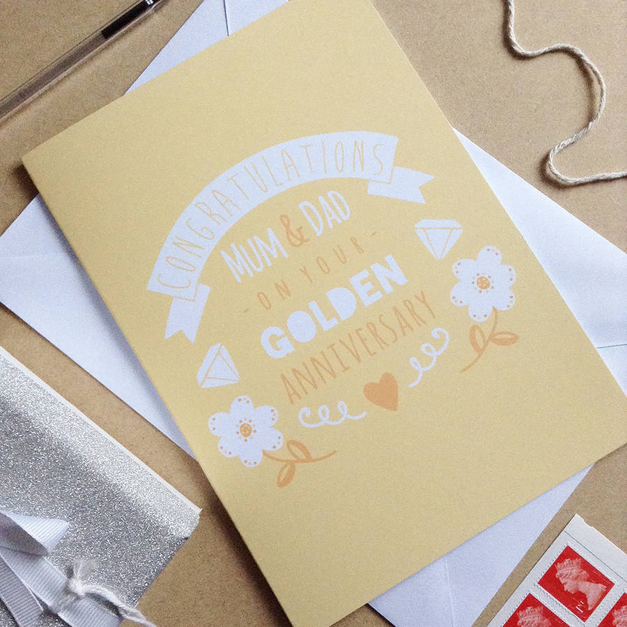 personalised golden wedding anniversary card by ello design