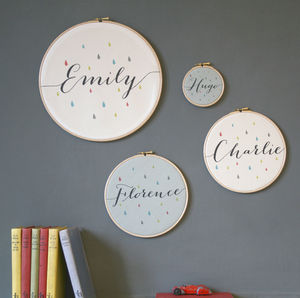 Personalised Baby Name Hoop - textile art