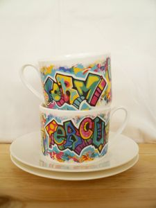 Graffiti Teacup And Saucer