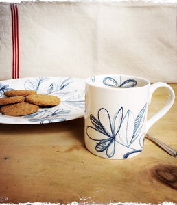 Blue Scribble Tree Mug