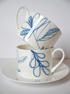 Blue Scribble Tree Teacup And Saucer - kitchen