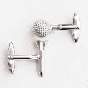 Personalised Golf Ball And Tee Silver Plated Cufflinks - cufflinks