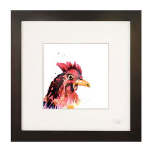 Inky Chicken Illustration Print