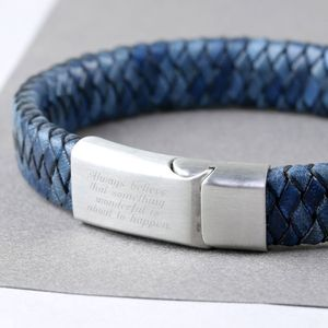 Engraved Handwriting Blue Leather Bracelet - bracelets
