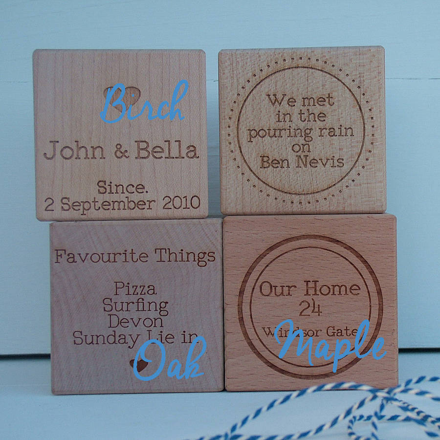 'our Story' Engraved Oak Or Maple Wood Block By Seahorse