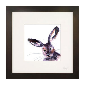 Inky Hare Illustration Print - paintings & canvases