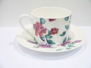 China Teacup And Saucer, Rose Pattern
