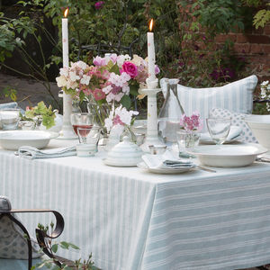 Cambridge Stripe Table Linen - al fresco dining