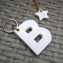 Personalised 'Stone' Letter Key Ring