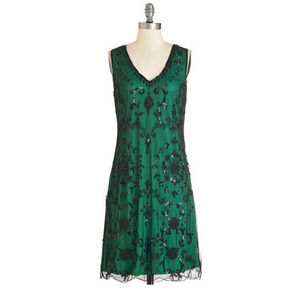 1920s Inspired Black Beaded Dress With Green Lining - dresses