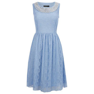 Pale Blue Alexia Dress With Pearl Neck