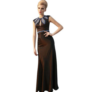Black Floral Embellished Evening Dress - winter sale