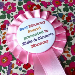 Mother's Day Personalised Rosette Badge - pins & brooches