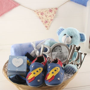Deluxe Boy New Baby Gift Basket - baby care