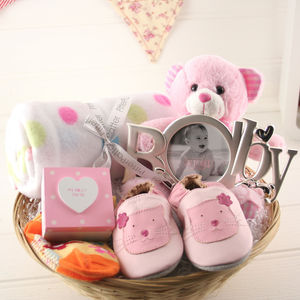 Deluxe Girl New Baby Gift Basket - new baby gifts