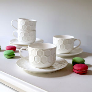 White Honeycomb Cup And Saucers Set Of Four - dining room