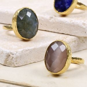 Statement Gold Cocktail Ring - gemstones