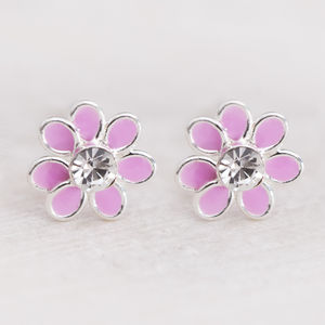 Alia Sterling Silver Flower Crystal Earrings - children's accessories