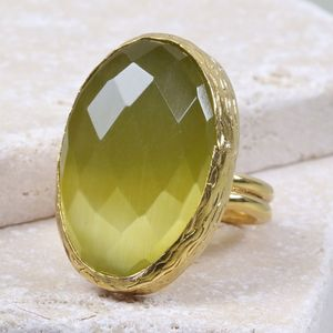 Large Oval Yellow Cat's Eye Cocktail Ring - gemstones