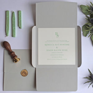 Wax Seal Letterpress Wedding Invitation - invitations