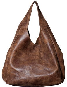 Brown Leather Shopper Bag - shoulder bags