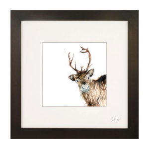 Inky Reindeer Illustration Print - children's room