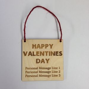 Personalised Valentines Day Wooden Hanging Plaque