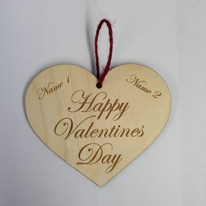 Personalised Valentines Day Wooden Hanging Heart