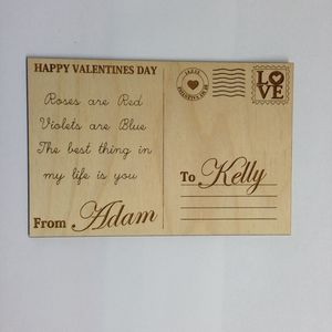 Personalised Valentines Day Wooden Postcard