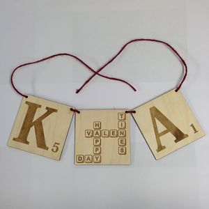 Personalised Valentines Day Scrabble Tiles Style Banner