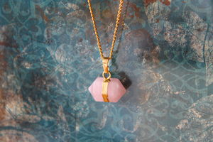 Rose Quartz Nugget Stone Necklace - wedding fashion
