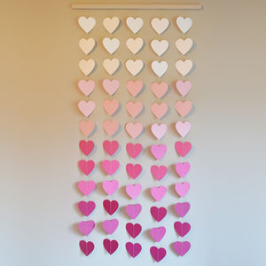 Pink Ombré Hearts Wall Hanging - decorations