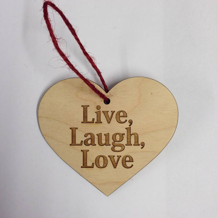 wooden heart on a string 39 live laugh love 39 by wendover wood. Black Bedroom Furniture Sets. Home Design Ideas