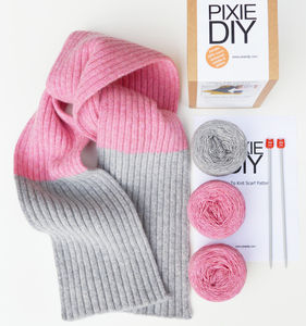 Ribbed Scarf Knitting Kit - gifts for her sale