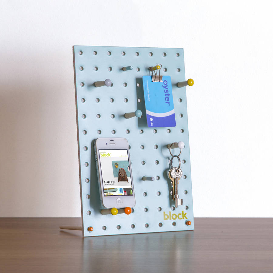 Desk Pegboard With Wooden Pegs, Blue